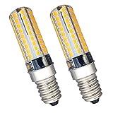 KingYH 2 Stück 5W LED Kühlschranklampe E14 LED Lampe Glühlampe SES 72SMD LEDs 3000K Warm Weiß Ersatz für 45W Halogenlampen 360° Abstrahlwinkel Dimmbar Silikon für Gefrierschrank Dunstabzugshaube