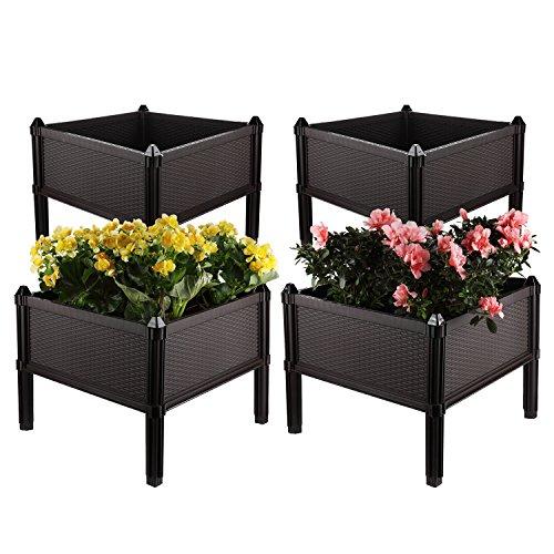 T4U Assemblierend Blumentopf/Blumenkasten mit Füßen, Erweiterbar Frühbeet/Hochbeet Rattan Design für Gräser, Gemüse, Kräuter - Dunkelbraun, 4er Set