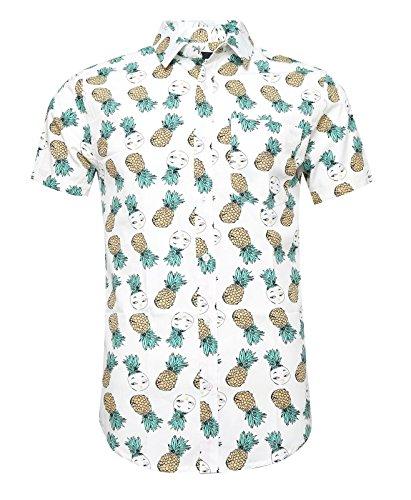 SOOPO Herren Kurzarm Freizeithemd Button Down Aloha Hawaii Style Hemd mit Ananas Floral Druck Weiß S (Bai Ananas)