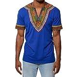 OVERDOSE Mode Männer Slim Fit V-Ausschnitt Afrikanischen Gedruckt Muskel T-Shirt Casual Tops Bluse Sommer Oberteile Hemd(Blau,EU-56/CN-3XL)