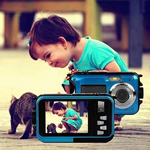 Wasserdichte Kamera, Webat Doppelte Bildschirme Wasserdichte Digitalkamera 2.7-Zoll-Front LCD Easy Self Shot Selfie Kamera - Blau