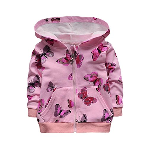 Hirolan Mode Säugling Kleinkind Baby Mädchen Kapuzenpullover Tops Beiläufig Schmetterling Drucken Kleider Reißverschluss Mantel Beige Rosa (80cm, Rosa) (Schmetterling Outfits Für Babys)