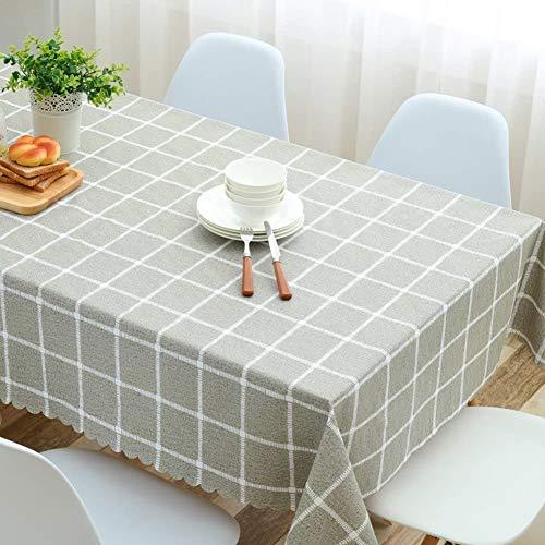 GJXY PVC wasserdichte Tischdecke Tischdecken runden Tisch Oil Free Blemish Verifier Tischdekorationen Schutztuchabdeckung Karierte Tischdecke Esstische,Cyan Gray,90 * 150cm