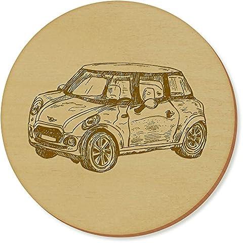 6 x 'Mini Cooper Car' 95mm Round Wooden Coasters