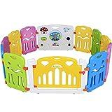Seelux Kinder Laufstall Laufgitter aus Kunststoff mit Tür und Spielzeugboard (10+2)