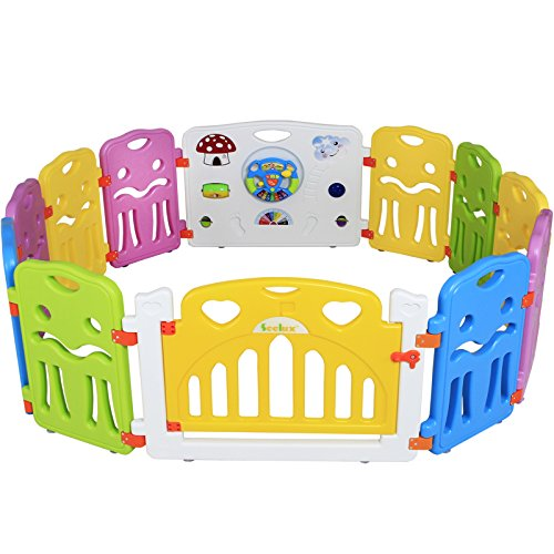 Preisvergleich Produktbild Seelux Kinder Laufstall Laufgitter aus Kunststoff mit Tür und Spielzeugboard (10+2)