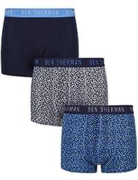 Ben Sherman Mens Hudson 3 Pack Boxer Shorts in Navy- 2 Pattern Detail, 1 Clean
