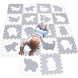 MQIAOHAM spielmatte Baby puzzlematte puzzelmatten für Babys Play mat krabbelmatte Boden Puzzle spielmatten matten krabbeldecke wasserdicht Matte Schaum bodenmatte White Grey P051BH