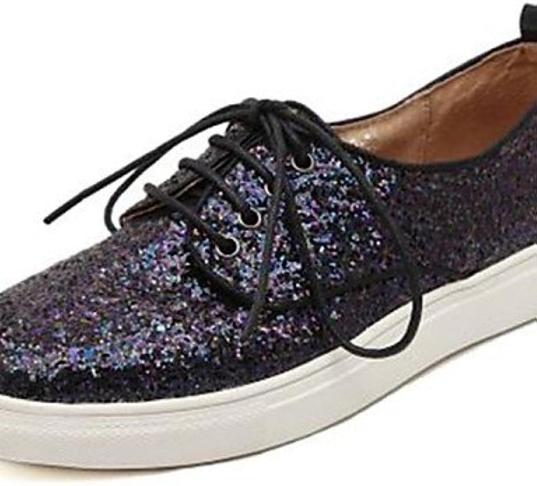 NJX/ Zapatos de mujer - Plataforma - Punta Redonda - Oxfords - Casual - Cuero - Negro / Plata , silver-us8 / eu39...