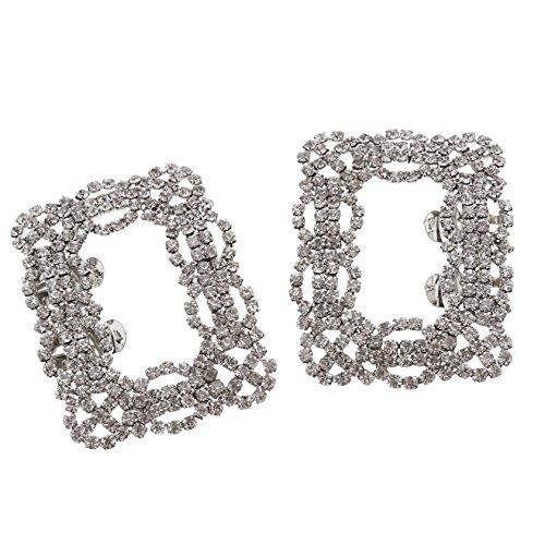 ENET coppia di strass di cristallo da sposa tono fibbia quadrata shoe charm clip