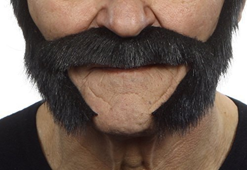 (Selbstklebende Neuheit Pedal to The Metal Fälscher Bart Falsch Gesichtsbehaarung Kostümzubehör für Erwachsene Schwarz Glänzend Farbe)