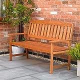 Garden Mile Three Seater Hardwood Garden Patio Bench 3 Seat Chair Garden Furniture Outdoor Chair Easy Assembly Waterproof Wea