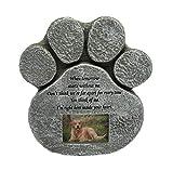 Hyindoor Grabstein für Hunde und Katzen, mit Bilderrahmen in Form von Füßen, Bedruckt, mit Gedenkstein, für Tiere