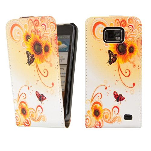 kwmobile Funda para Samsung Galaxy S2 - Carcasa de móvil en [Cuero sintético] - Case [Plegable] con diseño tournesol Swirl