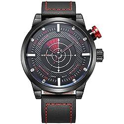 Alienwork Quartz Watch XXL Oversized Wristwatch Outdoor Leather black black OS.WH-5201-2