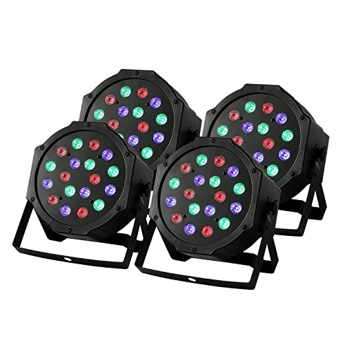 ZjRight Stage 4Pcs 18x3w Stage Beleuchtung RGB LED PAR64 54W DMX512 for Club DJ Show Home Party Ballsaal Bands Show (18X3w 4Pcs)