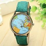 Gaddrt Nouvelle mode de voyage global précis par plan de la carte robe de montre denim tissu pour les femmes (Vert)