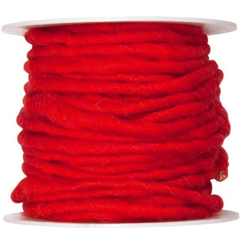 10m Wollschnur mit Juteseele Wollband Wolle Dekowolle Filzkordel D ca. 5mm, Farbe:rot