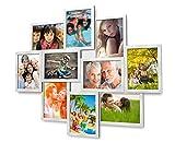 1002 Fotogalerie für 10 Fotos 13x18 cm - 3D Optik - Bilderrahmen Bildergalerie Fotocollage Rahmenfarbe Silber gebürstet
