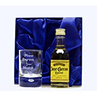 Personalised Shot Glass & Tequila GOLD Gift in Silk Gift Box For 18th/21st/