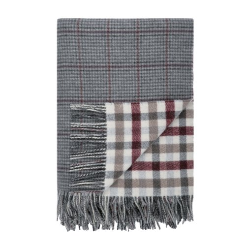 Tay Reversibel Houndstooth und Block Check Tweed Lammwolle Decke Tweed-blöcke