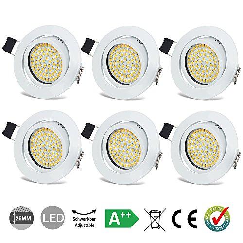 LED Einbaustrahler Schwenkbar Ultra Flach 3.5W Warmweiß 3000K IP20 LED Deckenstrahler 400 Lumen Rund Weiße Stahl LED Einbauspots im Wohnzimmer, Schlafzimmer, Esszimmer, Ausstellungsraum (6er Set )