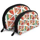 Abstraktes Wassermelonenmuster in Dreiecken Tragbare Taschen Make-up-Tasche Kulturbeutel Tragbare Multifunktions-Reisetaschen Kleine Make-up-Clutch-Tasche