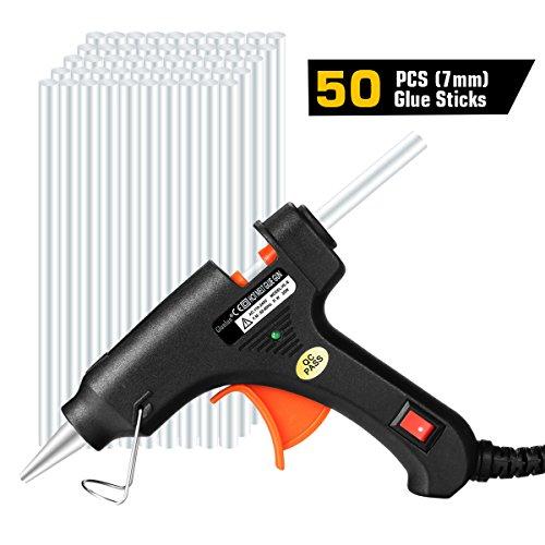 Glunlun Heißklebepistole Klebepistole, Hot Glue Gun mit 50PCS Heißklebesticks Transparente Klebesticks für DIY Kleine Handwerk und schnelle Reparaturen , 20Watt Klebepistolen Schwarz