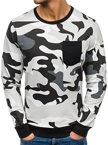 BOLF Herren Sweatshirt Rundhalsausschnitt Pullover sportlicher Stil 1A1 Grau_0741