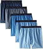 Hanes Men's 5-Pack FreshIQ Printed Woven Exposed Waistband Boxers, Print, XX-Large