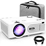 QKK Projector, AK-80 Mini Projector with Carrying Bag, 3800 Lumen Video Projector Supports 1080P Full HD, Compatible with TV Stick, PS4, HDMI, VGA, SD, AV and USB, Home Theater Projector, White.