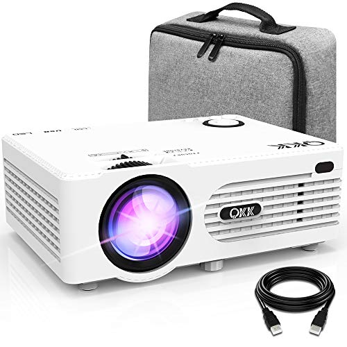 QKK AK-80 Proyector con Bolsa de Transporte Compatible 1080P FHD, 3800 Lumen Proyector de video Compatible con TV Stick PS4 Xbox Wii HDMI VGA SD AV USB, Home Theater Proyector, Blanco.