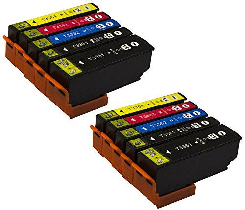 10 Druckerpatronen Kompatibel zu Epson Multipack 33 XL T3351 T3361 T3362 T3363 T3364 (mit Chip und Füllstandsanzeige) für Epson XP-530, XP-540, XP-630 Series, XP-635, XP-640, XP-645, XP-830, XP-900 -