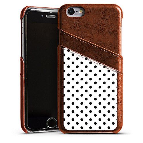 Apple iPhone 6 Housse Étui Silicone Coque Protection Polka points Noir et blanc Motif Étui en cuir marron