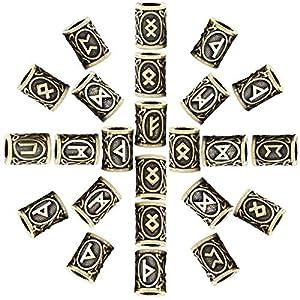AILSAYA 24 Stück Antike Wikinger Nordischen Runen Silber Nordischen Charme Erkenntnisse Für Armband Anhänger Halskette Bart Dreadlocks Haar DIY Armband Schmuck Anhänger