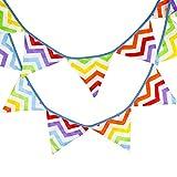 Hosaire Ghirlanda Striscione Striscione in cotone double face modello d' onda arcobaleno Ghirlanda di bandierine Décor per festa di matrimonio compleanno