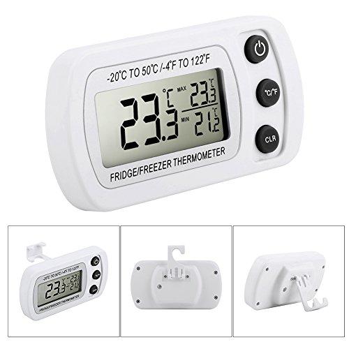 Digital Kühlschrank Thermometer Glamouric Gefrierschrankthermometer Kühlschrank LCD Digital thermometer für Tiefkühltruhe Gefrierschrank Kühl Temperatur Monitor Wasserdicht mit Haken Weiß