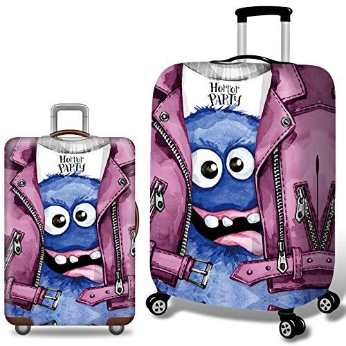 Elastisch Kofferhülle mit Reißverschluss 18-32 Zoll Jacke Monster Luggage Cover Reisekoffer Hülle Kofferschutzhülle Gepäck Cover Kofferbezug Schutzbezug Koffer Abdeckung Lila M-22-24
