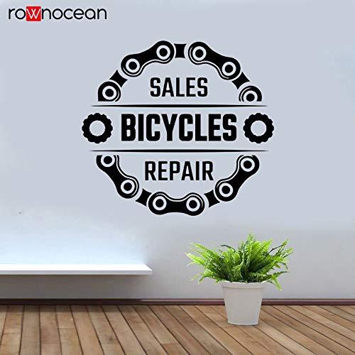 Modeganqingg Fahrrad Shop wandaufkleber Fahrrad Reparatur Vinyl Fenster Applique Fahrradkette Dekoration innenwandbild 46 cm x 42 cm