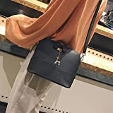 Handbag, New Women Messenger Bags Vintage Small Shell Leather Handbag Casual Bag (Y-Black)