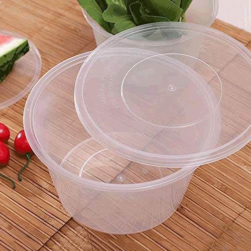 Müslischale - Einweg-transparente Kunststoff versiegelt Fast-Food-Box - Runde Dicke Nudeln Reis Mahlzeit Party Picknick Verpackung Box [50 Pack] Tableware -