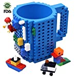 Kyonne Lego Mug, Build-on Brick Taza, Juegos de Construcción, Regalo Ideal para Hombre, Chico and Chicas (Azúl)