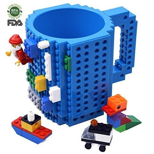 Kyonne Lego Tasse, Build on Brick Mug, Kaffeetasse, Geburtstagsgeschenk Becher für Männer, Junge and Kinder (Blau) (Becher 1 Tasse)