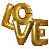Sous le Lampion - Ballons Love géants (1 mètre de Haut) Coloris doré métallisé. Décoration de Mariage, décoration de photobooth ou de Saint Valentin.