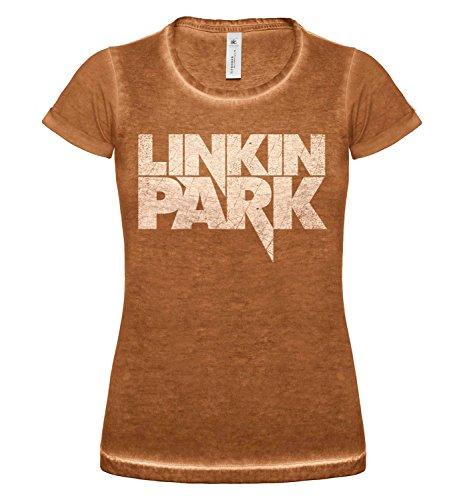 LaMAGLIERIA T-Shirt Donna Vintage Look Linkin Park COD. Grpr0105 - Maglietta DNM Plug in Effetto Vintage con Stampa Rock Rusty Clash