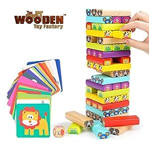 The Wooden Toy Factory – Juego de Torre de Bloques de Madera Animales 4 en 1, Juguete de Sobremesa Educativo para Niños y Niñas (Juego de Torre de Bloques de Madera Animales 4 en 1)