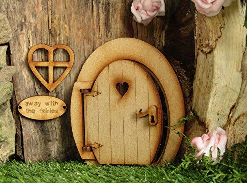 Kleine magische Öffnung Fairy Tür. Runde dreidimensionale Fairy Tür. Hölzerne Selbstmontage Handwerkskit (Fairy Zubehör Für Erwachsene)