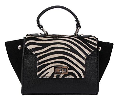 Slinbag Daria mini Handtasche / Umhängetasche aus hochwertigem Leder und echtem Fell / FARBAUSWAHL Schwarz-Weiß