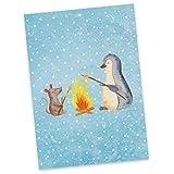 Mr. & Mrs. Panda Postkarte Pinguin Lagerfeuer - 100% handmade in Norddeutschland - Ansichtskarte, Marshmallows, Postkarte, grillen, Lebensmotivation, Einladung, Grußkarte, Pinguin, Pinguine, Pappe, Neustart, Lebensspruch