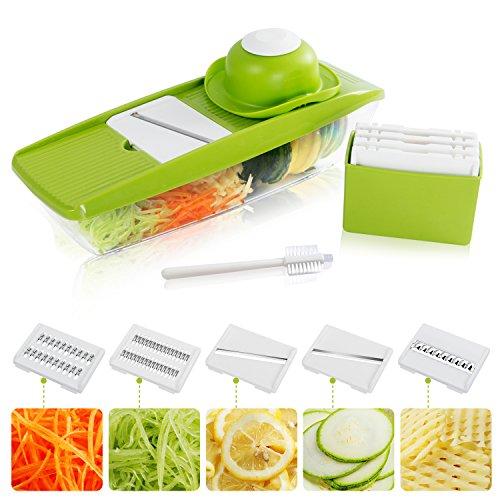 Lifewit Gemüsehobel Mandoline 8 in 1 Multifunktional Gemüseschneider mit Auffangbehälter Gemüse Slicer 5 Klingen Zwiebelschneider Obstschneider Küchenhelfer (Grün)